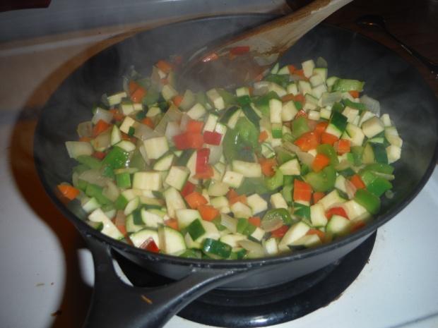 Stir vegetables! Tons of them!