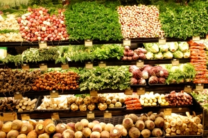 To avoid being tempted by animal food, keep your grocery shopping to the outsides aisles of the shop. It is here you will find all the produces to keep you healthy!