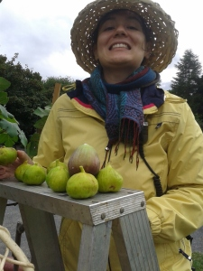This was taken last summer, when I was working with kids and really channeling my inner lightheartedness. Look at these wonderful Montreal grown figs! They were delicious!