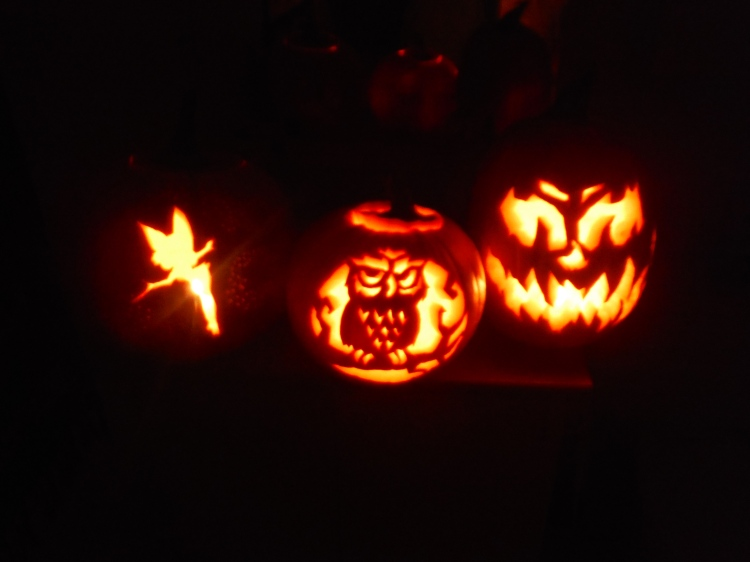 Front right to left: my boyfriend's scary creature, my friends elaborate design, and my not-so-halloweeny creation.